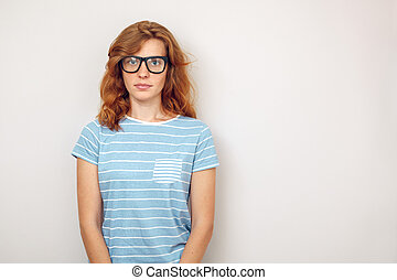 肖像画, 女, 黒, 若い, glasses.