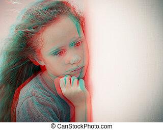 肖像画, 子供, 悲しい