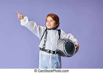肖像画, 宇宙飛行士, わずかしか, 身に着けていること, 男の子, スーツ, かわいい