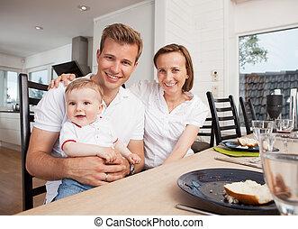 肖像画, 家族, テーブル