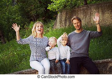 肖像画, 家族, 公園, グループ