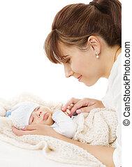 肖像画, 家族, 新生, 生まれる, お母さん, 母, 赤ん坊, 新しい子供