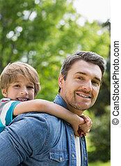 肖像画, 届く, 父, 背中, 男の子, 若い