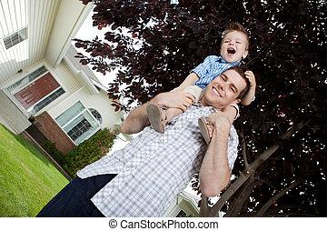 肖像画, 屋外で, 父, 若い, 息子