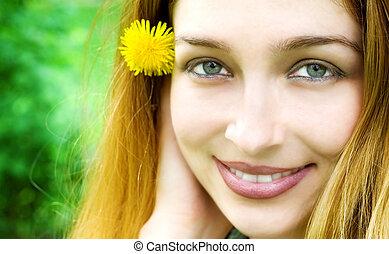 肖像画, 幸せな女性, 若い, 自然