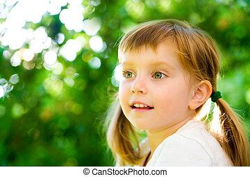肖像画, 幸せ, 女の子, liitle