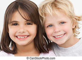 肖像画, 幸せ, 子供, 2, 台所