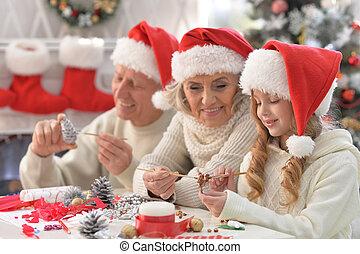 肖像画, 幸せ, 準備, 家族の クリスマス