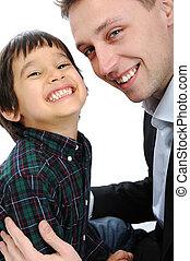肖像画, 幸せ, 父, 息子