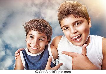 肖像画, 幸せ, 男の子
