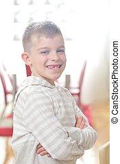 肖像画, 幸せ, 若い少年