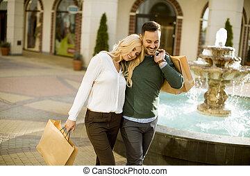 肖像画, 幸せ, 買い物, 恋人, 情事, 袋