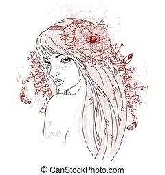 肖像画, 引かれる, flowers., 女の子, 手