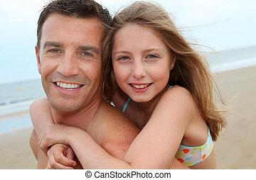 肖像画, 彼の, 娘, 背中, 人
