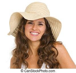 肖像画, 微笑の 女性, 帽子, 若い