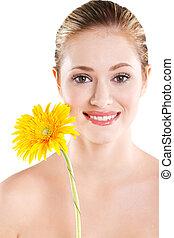 肖像画, 微笑の 女性, 花
