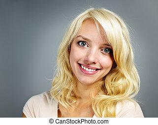 肖像画, 微笑の 女性, 若い