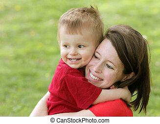 肖像画, 微笑, 母, 息子