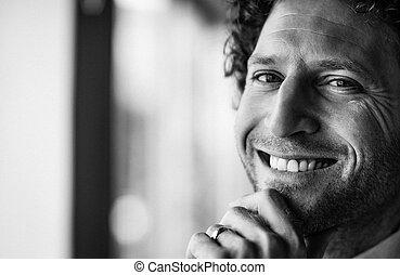 肖像画, 微笑, 男性の医者