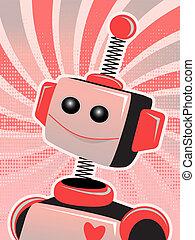肖像画, 微笑, sw, ロボット, バレンタイン