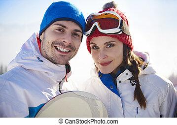 肖像画, 恋人, 休日, スキー