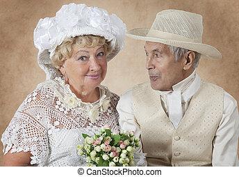 肖像画, 恋人, 年配