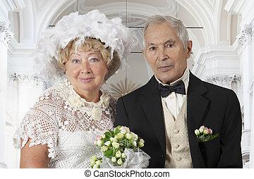 肖像画, 恋人, 年配, 結婚式