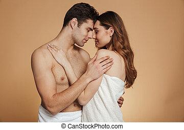 肖像画, 恋人, 情事, 魅力的, shirtless
