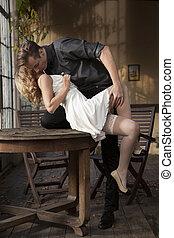 肖像画, 恋人, 若い愛, ポーズを取る