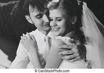 肖像画, 恋人, 若い, 結婚式