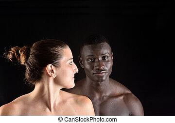 肖像画, 恋人, 黒い背景