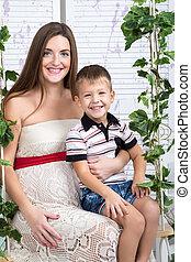 肖像画, 息子, お母さん, 妊娠した