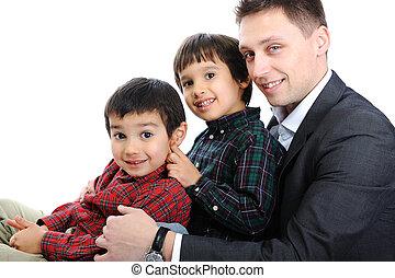 肖像画, 息子, 父, 2, 幸せ