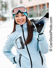 肖像画, ∥手渡す∥, 半分長さ, スキーをする, 女の子