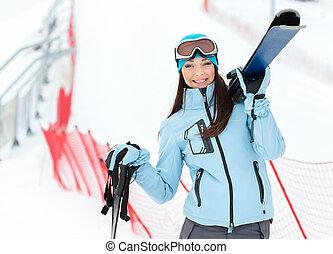 肖像画, ∥手渡す∥, 半分長さ, スキーをする, 女性