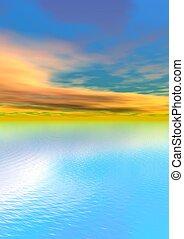 肖像画, 日の出, 海
