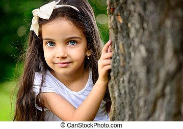 肖像画, 日当たりが良い, 女の子, 公園, ヒスパニック