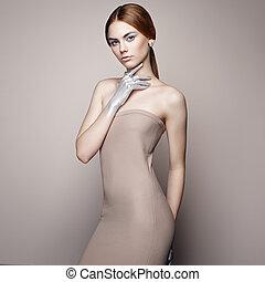 肖像画, 服, 女, ファッション, 優雅である