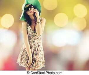肖像画, 朗らかである, 帽子, かなり, 女, 身に着けていること