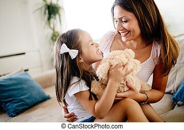 肖像画, 母, 娘, 熊, テディ