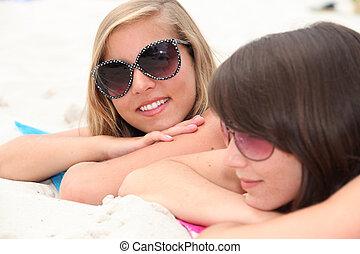 肖像画, 浜, 女の子, 2