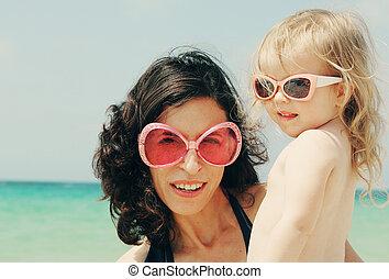 肖像画, 浜, 娘, 彼女, 母
