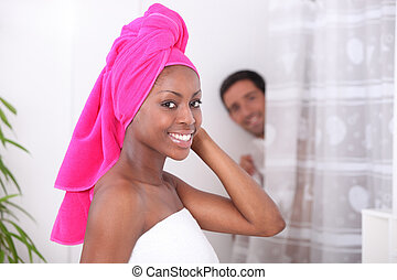 肖像画, 浴室, 女, 若い