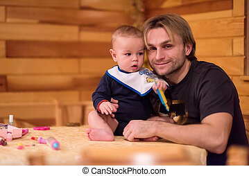 肖像画, 父, 息子, 赤ん坊, かわいい, 彼の, 若い