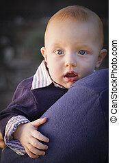 肖像画, 男の子, 幼児, 屋外で
