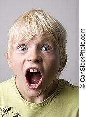 肖像画, 男の子, 若い, 叫ぶこと