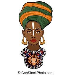 肖像画, 白, 王女, アフリカ, 隔離された, グラフィックス, ベクトル, バックグラウンド。