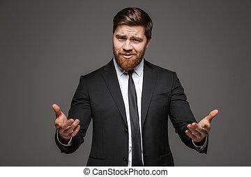 肖像画, 確信した, 若い, ビジネスマン