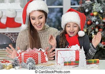 肖像画, 祝う, 娘, クリスマス, 母