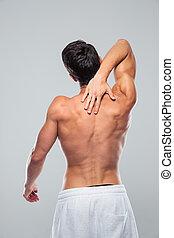 肖像画, 筋肉, 人, 後部, 痛み, 首, 光景